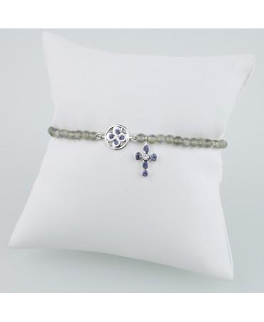 Bracelet chapelet diamants saphirs et labradorites or blanc