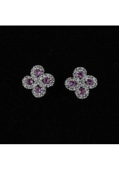 Boucles d'oreilles Argia txiki diamants saphirs roses or blanc
