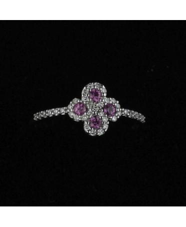 Bague Argia txiki diamants saphirs roses or blanc
