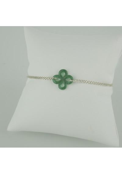 Bracelet Ilargia Argent Agate verte