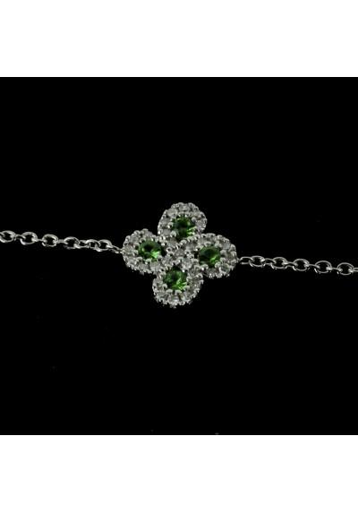 Bracelet Argia txiki diamants et tsavorites or blanc