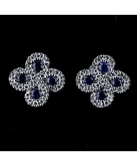 Boucles d'oreilles Argia txiki diamants saphirs or blanc