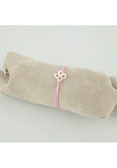 Bracelet baby Ilargia nacre rose sur cordon