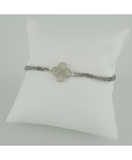 Bracelet Ilargia argent et soie grise agate grise