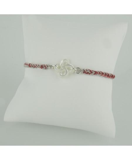 Bracelet Ilargia argent et soie rouge nacre blanche