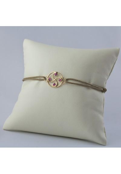 Bracelet Nahia txiki tourmaline rose or rose