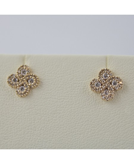 Boucles d'oreilles Argia txiki diamants or rose