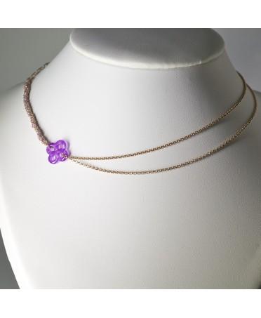 Collier Ilargia argent et soie lila plaqué or rose jade violet teinté