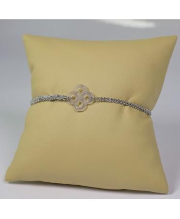 Bracelet Ilargia argent et soie grise lauburu agate grise