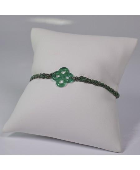 Bracelet Ilargia argent-soie verte et agate verte