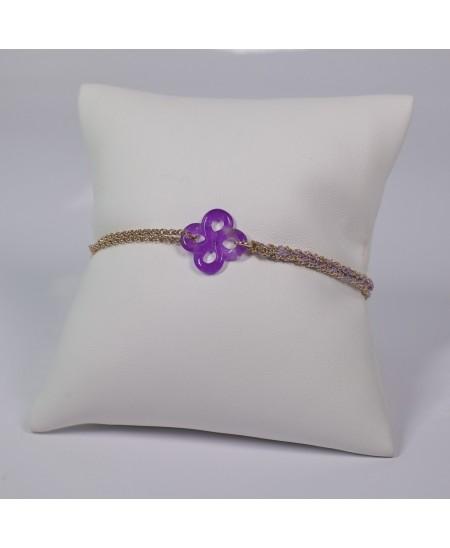 Bracelet Ilargia argent plaqué or rose et argent-soie lila lauburu en jade violet teinté