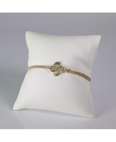 Bracelet Ilargia argent plaqué or rose et argent-soie beige lauburu en nacre grise