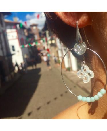 Boucles d'oreilles argent nacre blanche et amazonites