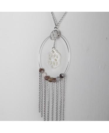 Sautoir ametsa argent stele de xabier nacre blanche agate