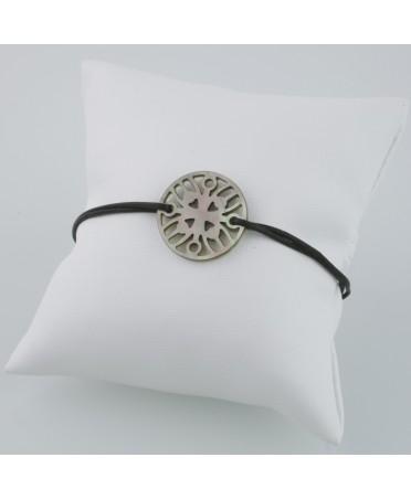 Bracelet Ilargia stèle nacre grise sur cordon