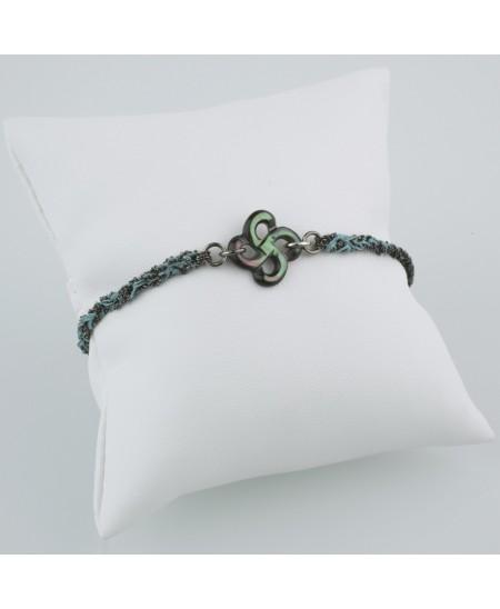 Bracelet argent et soie nacre grise