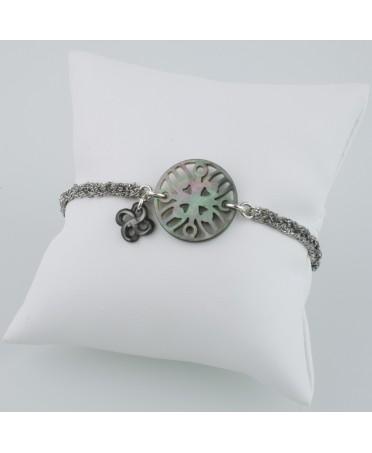 Bracelet argent et soie stèle nacre grise