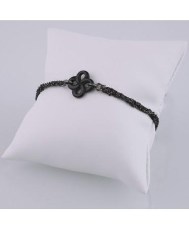 Bracelet argent et soie onyx