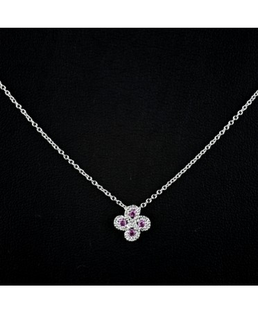 Collier Argia txiki diamants saphir rose or blanc