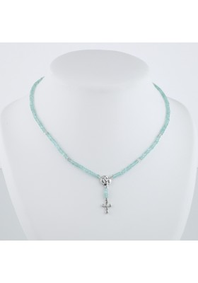 Collier Chapelet diamants gris et apatite or blanc