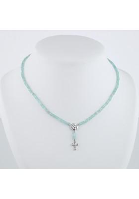 Collier Chapelet diamants gris et apatite or blanc