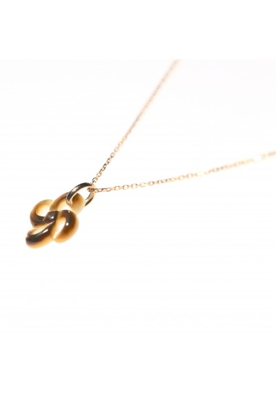 COLLIER OR JAUNE NACRE GRISE