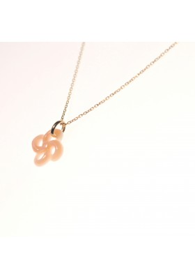 COLLIER OR JAUNE NACRE ROSE