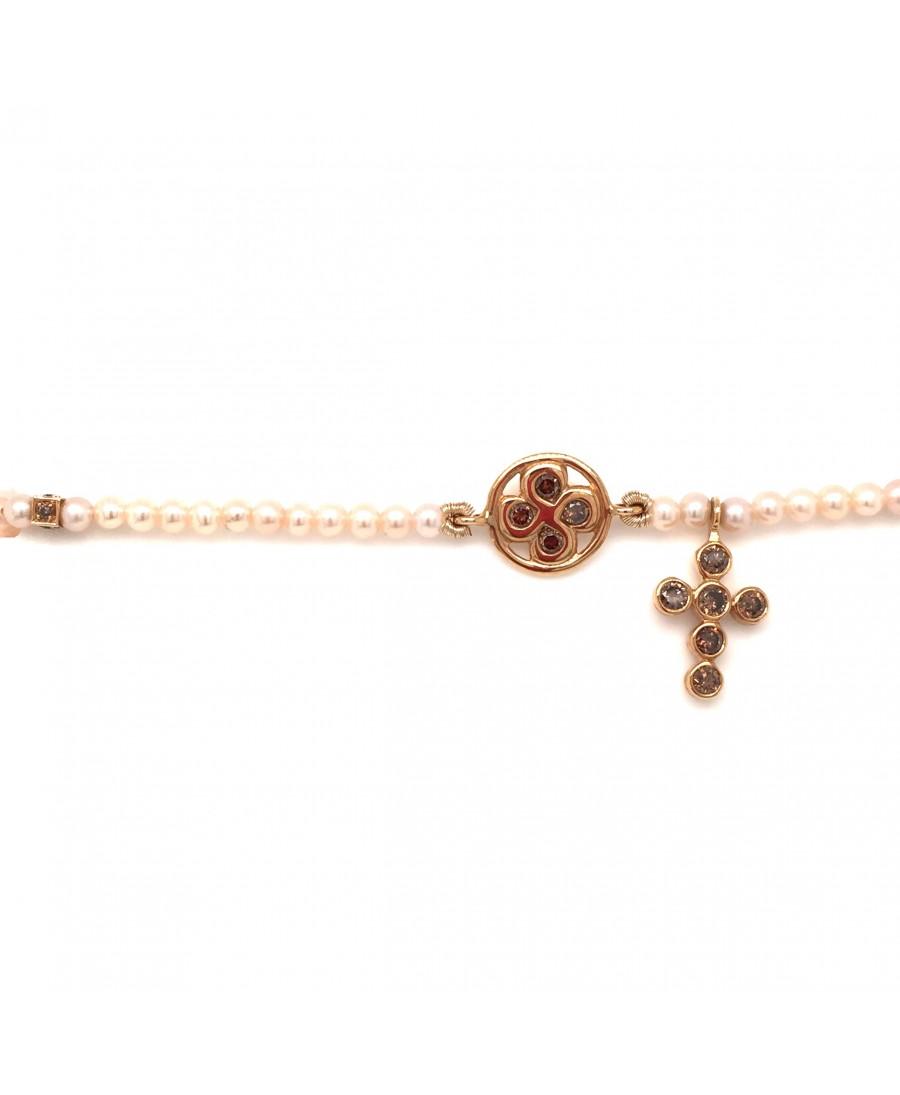 Collier Chapelet diamants bruns et perles roses or rose