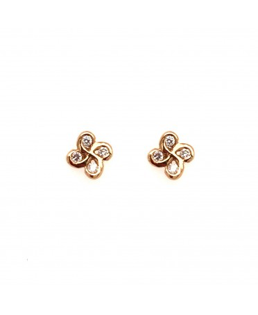 Boucles d'oreilles Alaia txiki diamants or rose