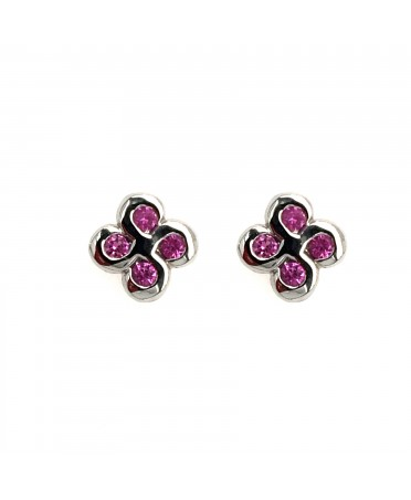 Boucles d'oreilles Alaia saphirs roses or blanc