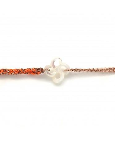 Bracelet Ilargia argent plaqué or rose et argent-soie beige lauburu en nacre blanche
