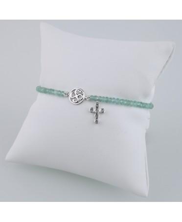 Bracelet Chapelet diamants gris et apatite or blanc