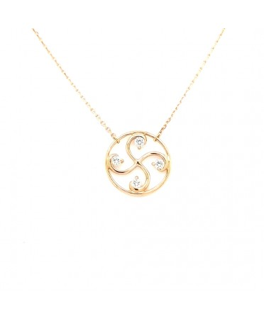 Collier Nahia txiki diamants or rose