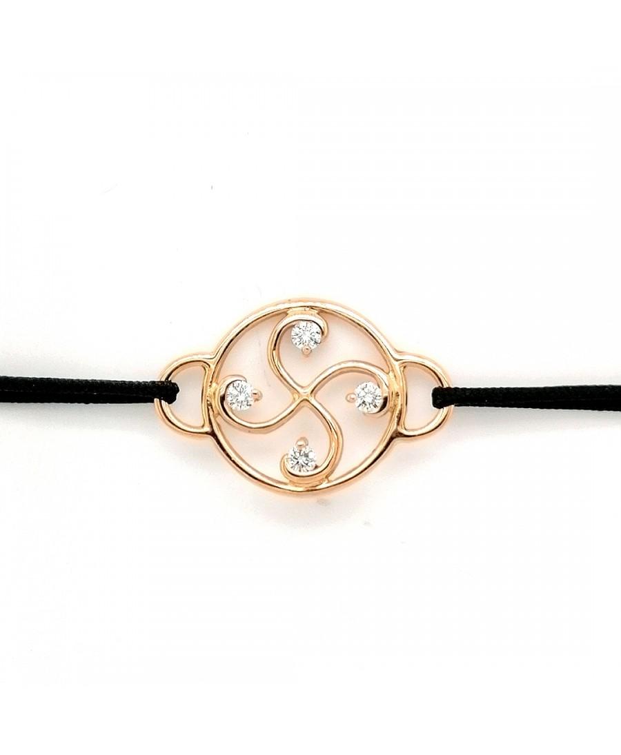 Bracelet Nahia txiki diamants or rose