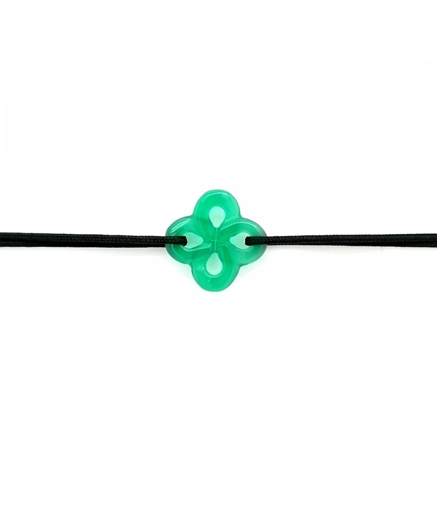 Bracelet Ilargia agate verte sur cordon