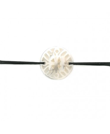 Bracelet Ilargia stèle nacre blanche sur cordon