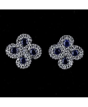 Boucles d'oreilles Argia txiki diamants saphirs or blanc