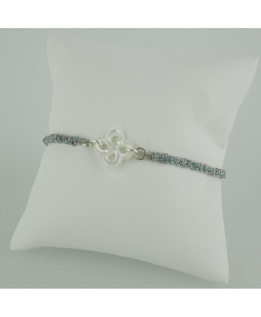 Bracelet Ilargia argent et soie bleue nacre blanche
