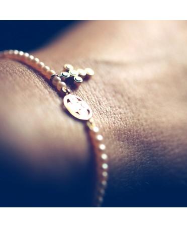 Bracelet chapelet diamants bruns et perles roses or rose