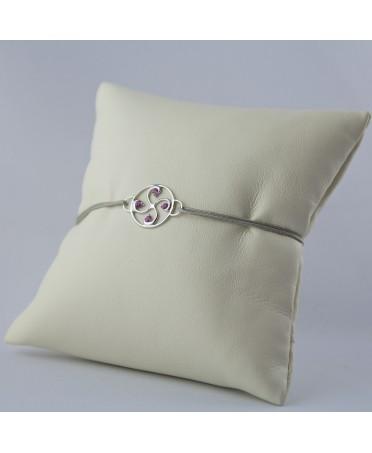 Bracelet Nahia txiki saphirs roses or blanc