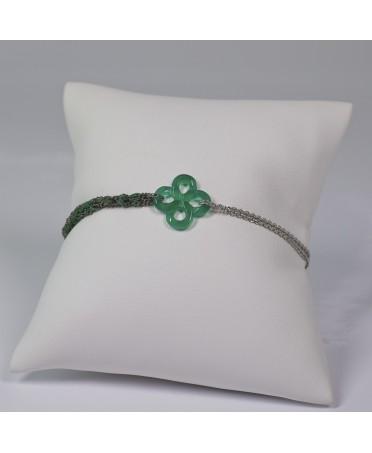 Bracelet Ilargia argent rhodié noir soie verte agate verte