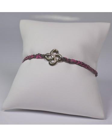 Bracelet Ilargia argent rhodié noir soie rose nacre grise