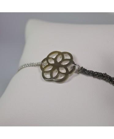 Bracelet Ilargia stèle de Xabier argent et soie grise