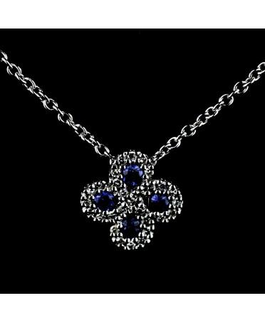 Collier Argia txiki diamants saphir or blanc