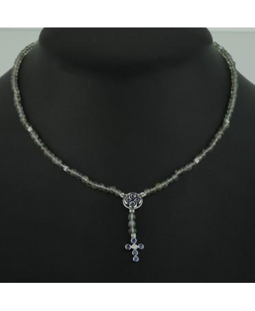 Collier Chapelet diamants saphirs et labradorites or blanc