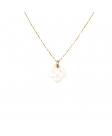 COLLIER OR JAUNE NACRE BLANCHE