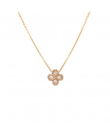 Collier Argia txiki diamants or rose
